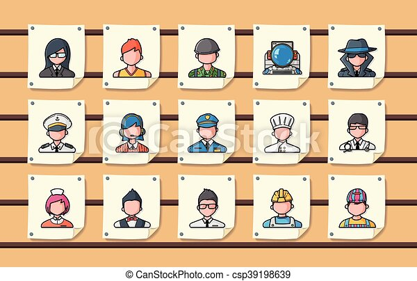 People occupations icons set, eps10 - csp39198639