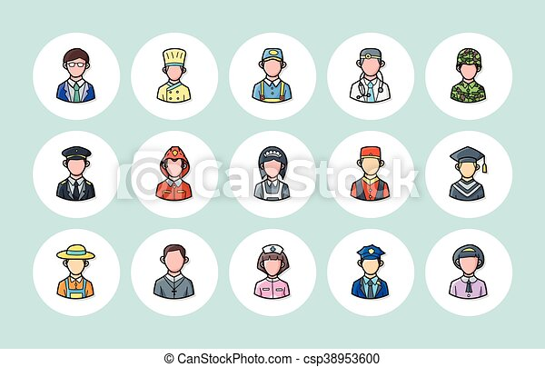 People occupations icons set, eps10 - csp38953600