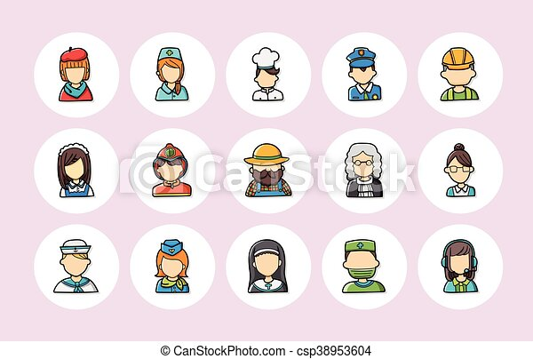 People occupations icons set, eps10 - csp38953604