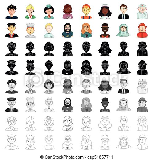 People Of Different Profession Set Icons In Cartoon Style Vector