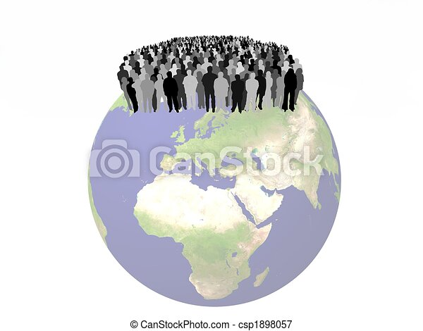 people on a globe - csp1898057