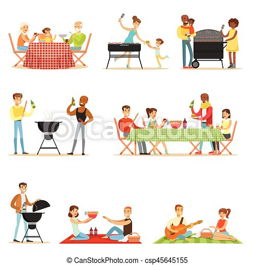 People On BBQ Picnic Outdoors Eating And Cooking Grilled Meat On Electric Barbecue Grill Set Of Scenes - csp45645155