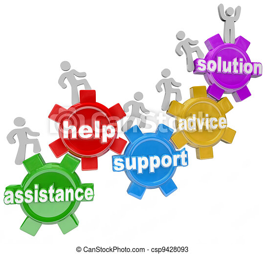People on Gears Helping Each Other to Reach Solution - csp9428093