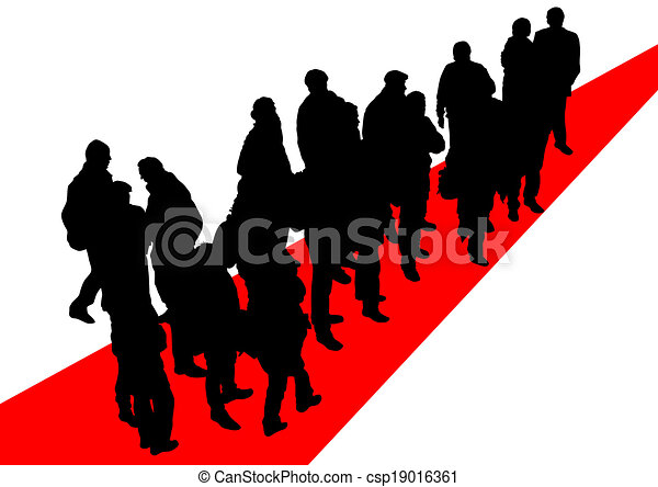 people on red road big crowds people on street clip art vector rh canstockphoto com