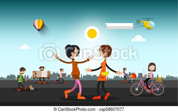 People on Street in City with Helicopter and Hot Air Balloon on Sky. Abstract Vector Town with Skyline on Background. - csp58607077