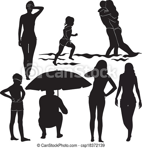 People On The Beach Boys And Girls Vector