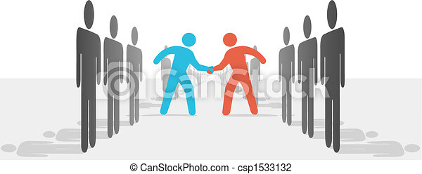 People on Two Sides Agree to Deal Shake Hands - csp1533132