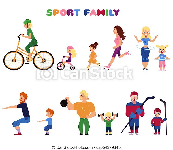People Parents And Kids Doing Sport Activities Set Of People Parents And Kids Doing Sport Activities Together Cycling Canstock