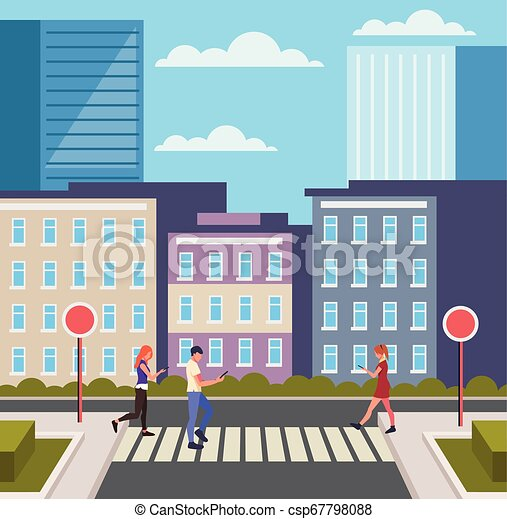 People pedestrians crossing street. City town urban scene concept. Vector design graphic flat cartoon isolated illustration - csp67798088