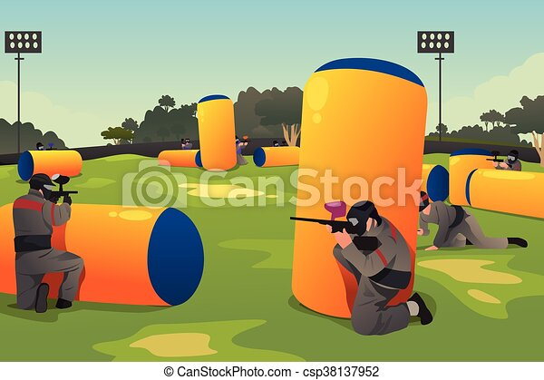 People Playing Paintball - csp38137952