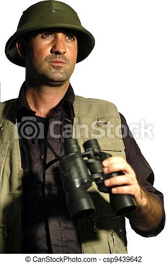 Exited Explorer Holding Binoculars Stock Image - Image: 28345251