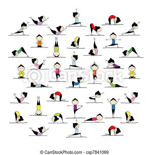 People practicing yoga, 25 poses for your design - csp7841069