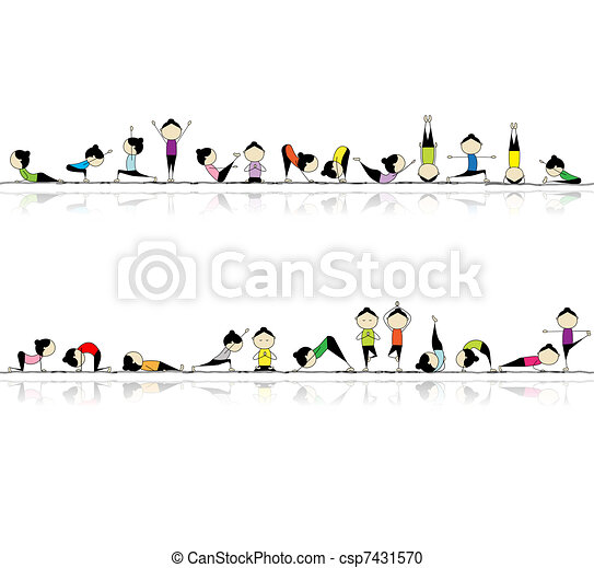 People practicing yoga, seamless background for your design  - csp7431570