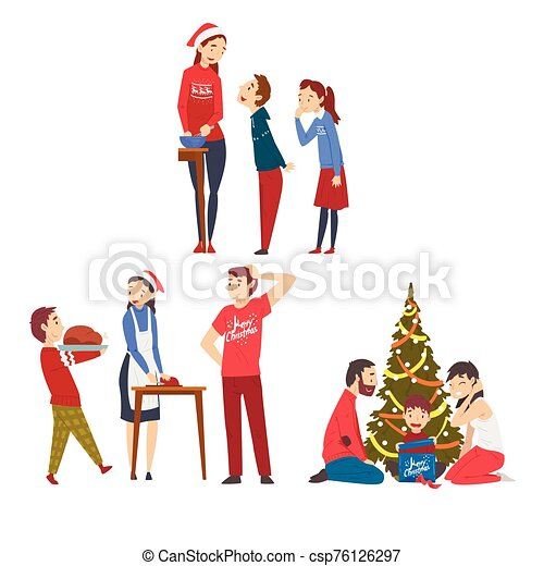People Preparing for Winter Holidays, Men, Women and Kids Decorating Christmas Tree and Cooking Delicious Dishes Vector Illustration - csp76126297