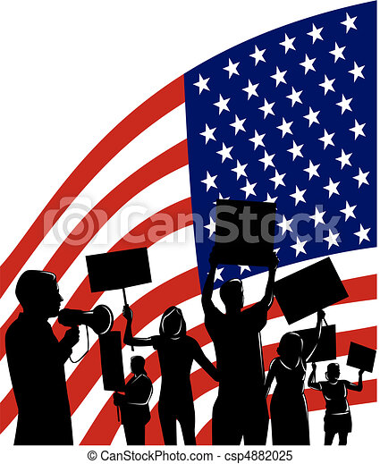 People Protesting With American Flag