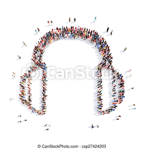 people representing the headphones. - csp27424203