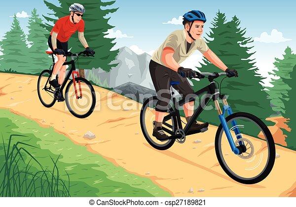 People riding mountain bikes - csp27189821