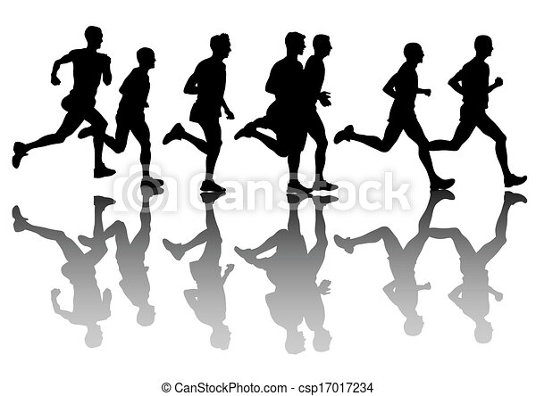 People Run Athletes On Running Race White Background