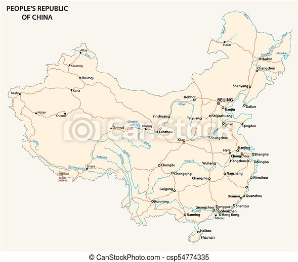 People S Republic Of China Road Vector Map People S Republic Of