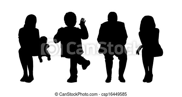 people seated outdoor silhouettes set 2 - csp16449585