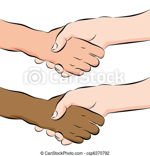 People Shaking Hands Line Drawing - csp6370792