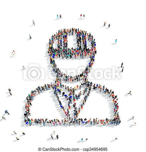 People Shape Civil Engineer A Large Group Of People In The Shape Of