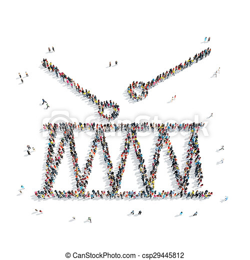people shape drum music - csp29445812