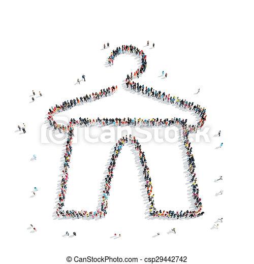 people shape hanger clothes - csp29442742
