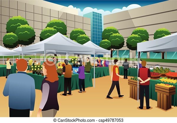 a vector illustration of people shopping in farmers market rh canstockphoto com market clipart gif market clipart pictures