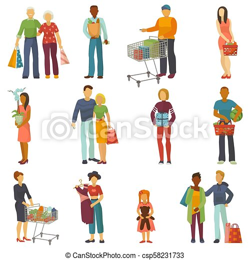 People shopping vector shopper buy with bag or shoppingcart in shop and custom character or buyer carrying shoppingbag buying in sale in store isolated on white background illustration - csp58231733