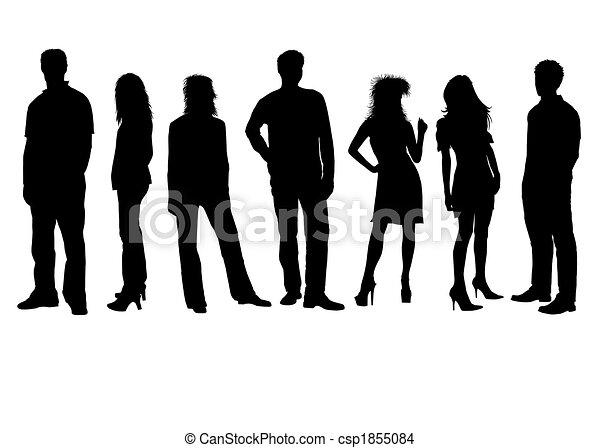 People silhouettes black white - csp1855084