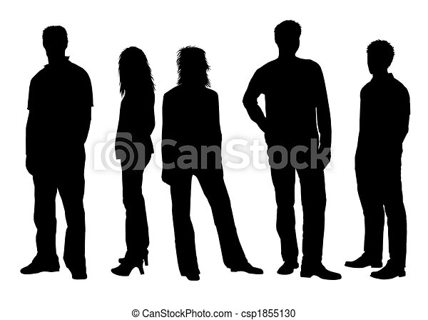 People silhouettes black white - csp1855130