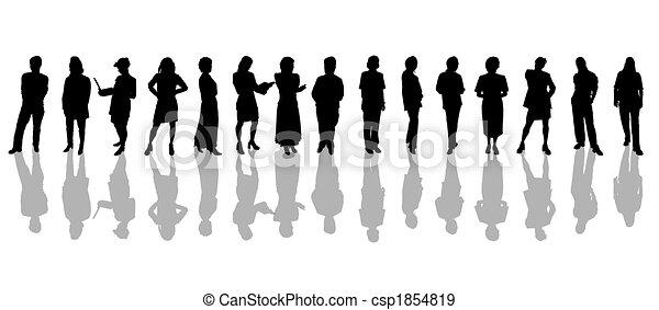 People silhouettes black white - csp1854819