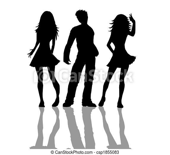 People silhouettes black white - csp1855083