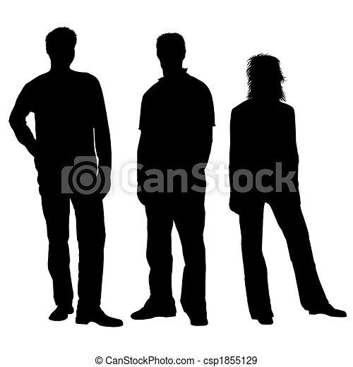 People silhouettes black white - csp1855129