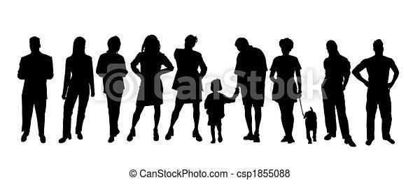 People silhouettes black white - csp1855088