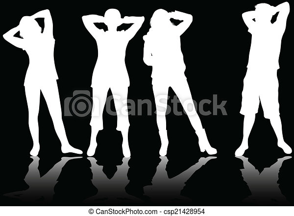 People silhouettes - csp21428954