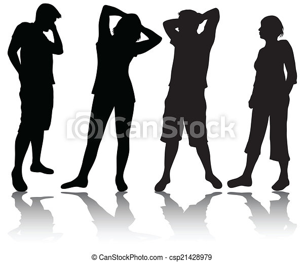 People silhouettes - csp21428979