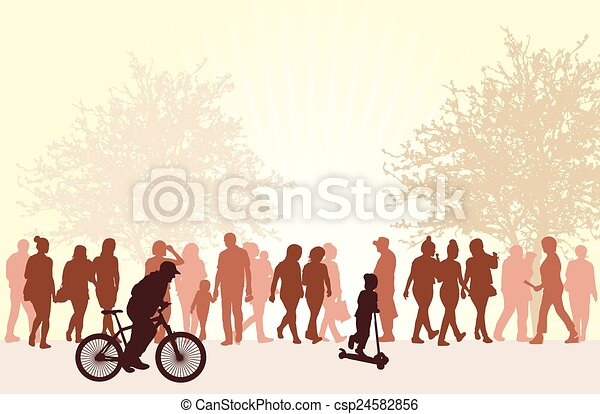 People silhouettes outdoors - csp24582856