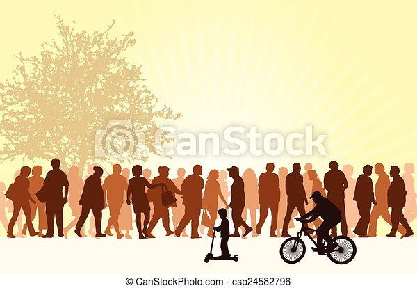 People silhouettes outdoors - csp24582796