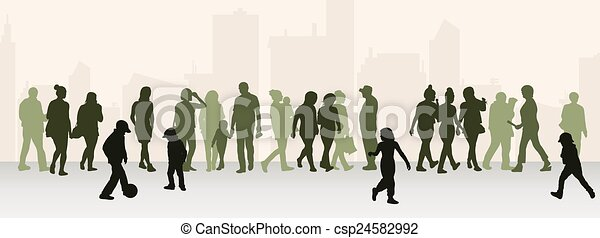 People silhouettes outdoors - csp24582992