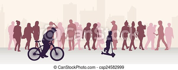 People silhouettes outdoors - csp24582999