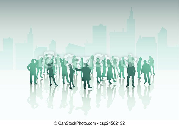 People silhouettes outdoors - csp24582132