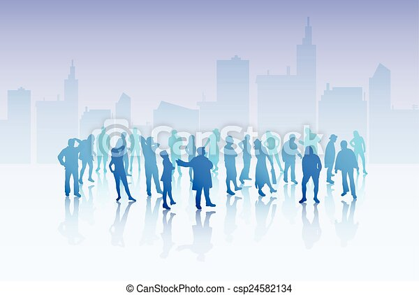 People silhouettes outdoors - csp24582134
