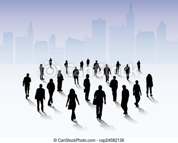 People silhouettes outdoors - csp24582136