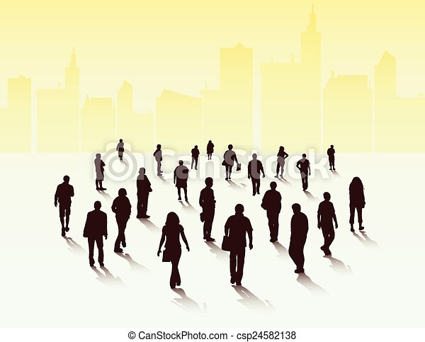 People silhouettes outdoors - csp24582138
