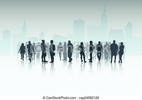 People silhouettes outdoors - csp24582126