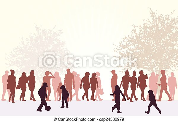 People silhouettes outdoors - csp24582979