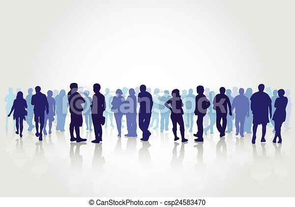 People silhouettes outdoors - csp24583470