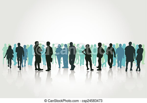 People silhouettes outdoors - csp24583473